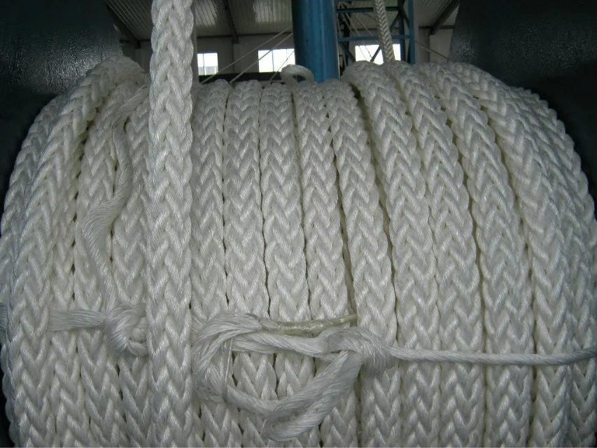 128mm Diameter Twisted 8 Strand Mooring Rope / Marine Nylon Rope